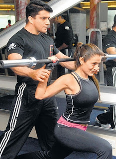 Amisha Patel And Her Trainer