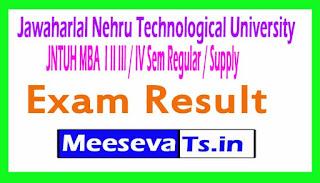 JNTUH MBA  I II III / IV Sem Regular / Supply Exam Result 2017
