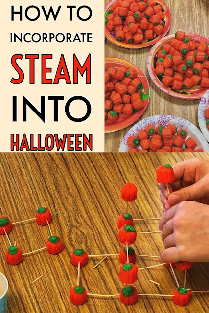 Act as engineers and do STEAM during Halloween in the elementary classroom using Mall-Creme Pumpkins and toothpicks!