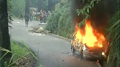 Vehicles set on fire in Darjeeling