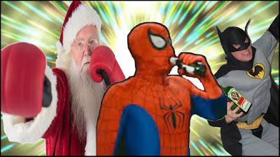 Briga Papai Noel Batman e Homem Aranha