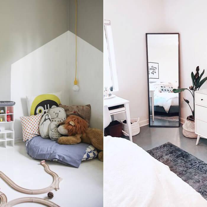 Arredare l'angolo di una camera da letto con un specchio da terra o con dei cuscini