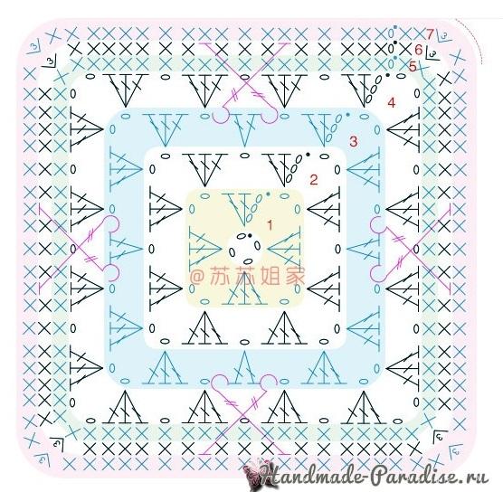 Схемы вязания пледа «Персидский ковер» (4)