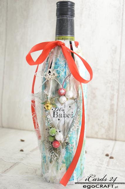 Świąteczne opakowanie na butelkę