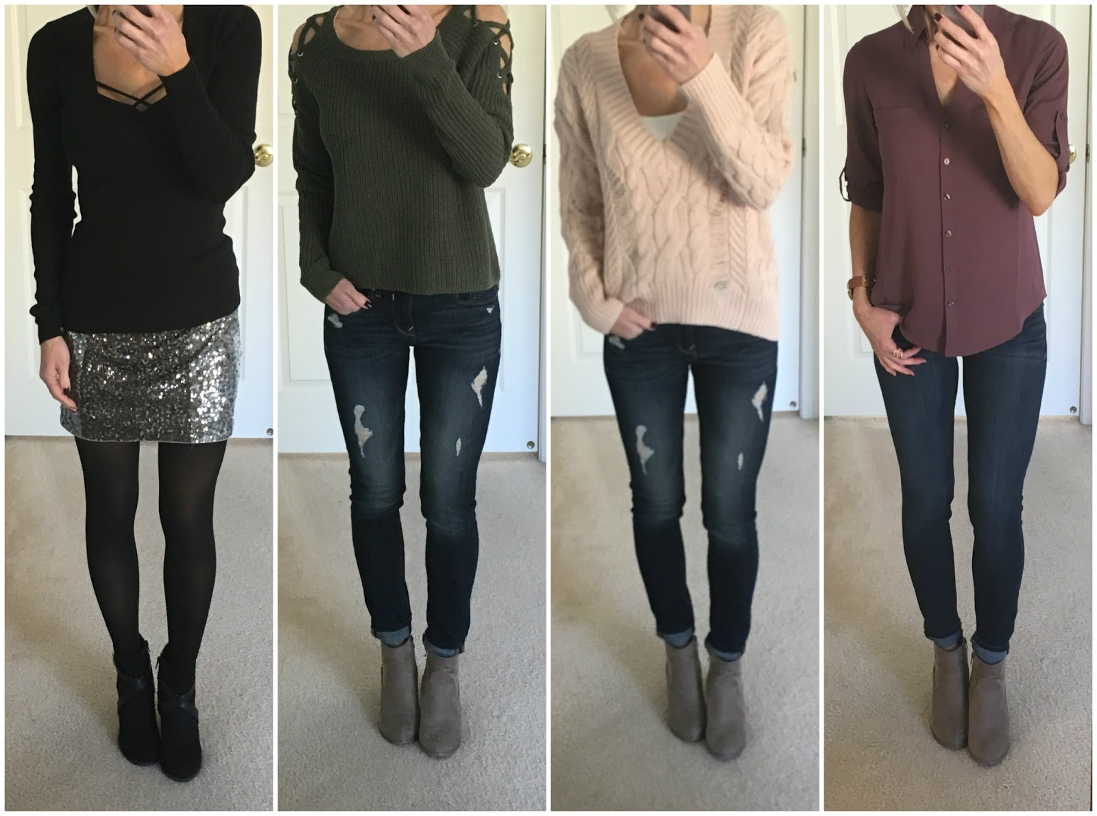 b18f7c32 1. Black Sweater | 2. Olive Sweater | 3. Blush Sweater | 4. Slim Fit  Portofino (Details for each outfit below)