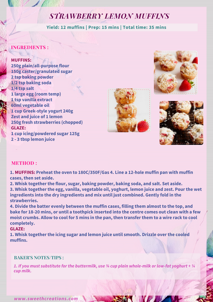 STRAWBERRY LEMON MUFFINS RECIPE