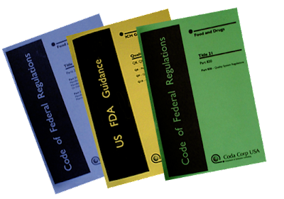 Coda Corp USA booklets for sale, Code of Federal Regulations, FDA, Title 21