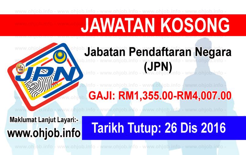 Jawatan Kerja Kosong Jabatan Pendaftaran Negara (JPN) logo www.ohjob.info disember 2016