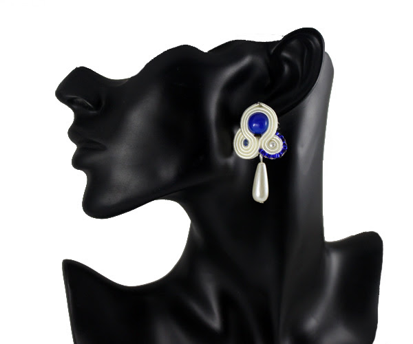 small wedding earrings, handmade soutache, dropped pearls, bride jewelry, something blue for wedding, navy blue, cream,