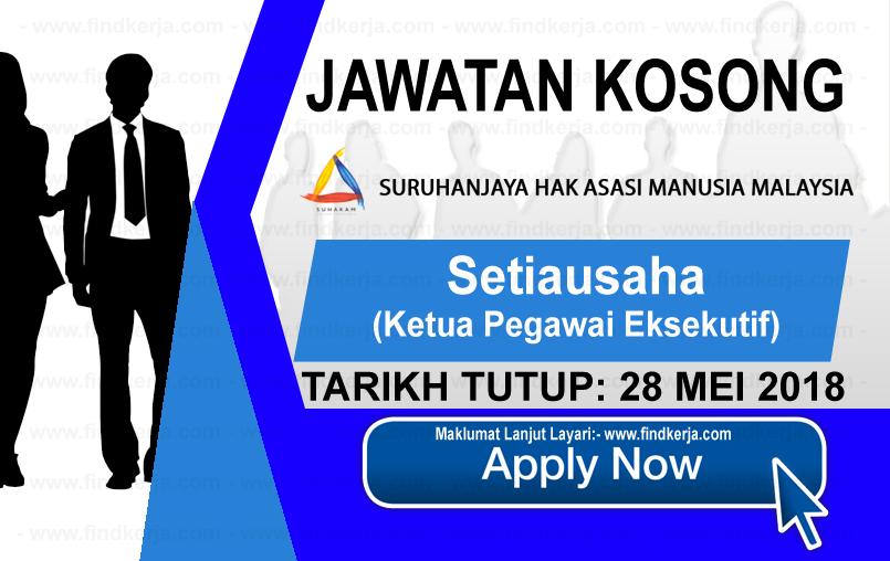 Jawatan Kerja Kosong SUHAKAM - Suruhanjaya Hak Asasi Manusia Malaysia logo www.findkerja.com mei 2018