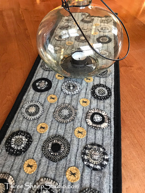 Black Licorice Penny Rug Runner by Rose Clay at ThreeSheepStudio.com