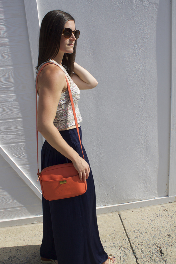 Naturally Me, Palazzo Pants, Aeropostale Crop Top, Crop Top, Summer outfit idea, J.Crew Crossbody Bag, Orange Crossbody Bag, LOFT Sunglasses, Nine West Wedges, Tan Wedges