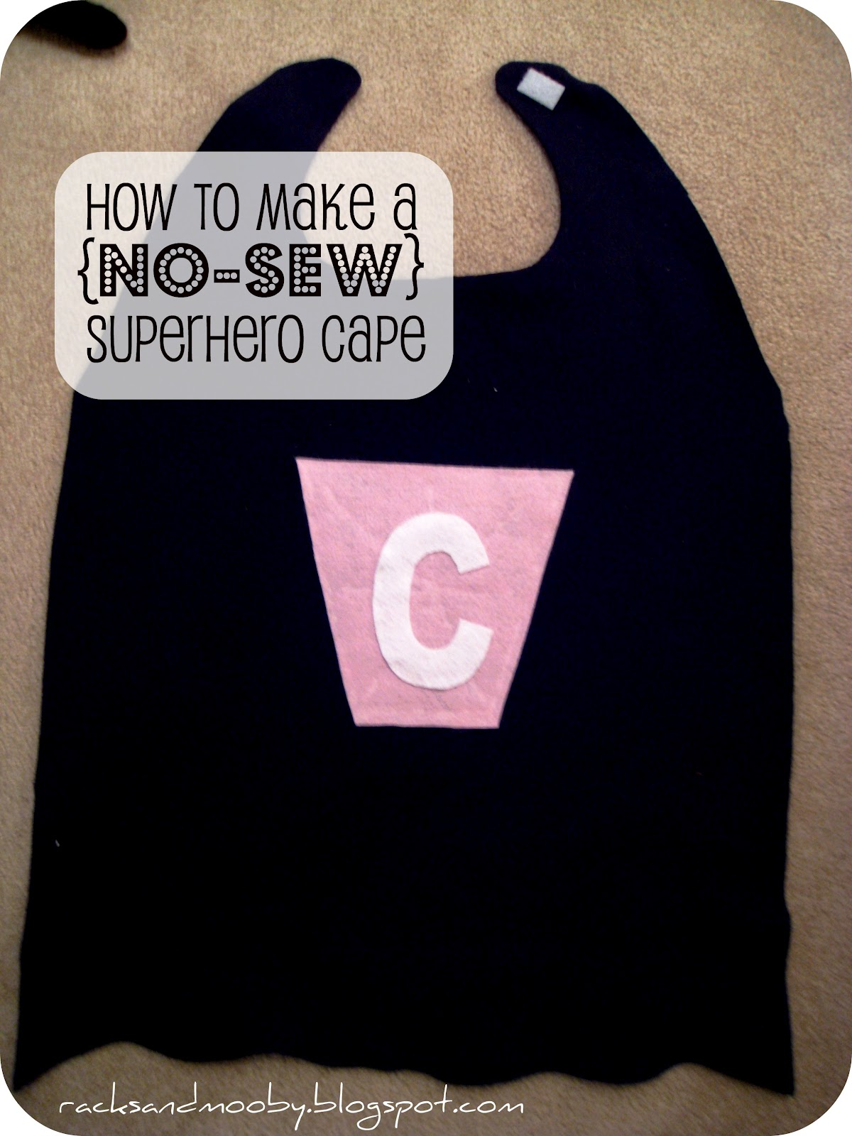Racks and mooby how to make a superhero cape no sew for Diy superhero cape template