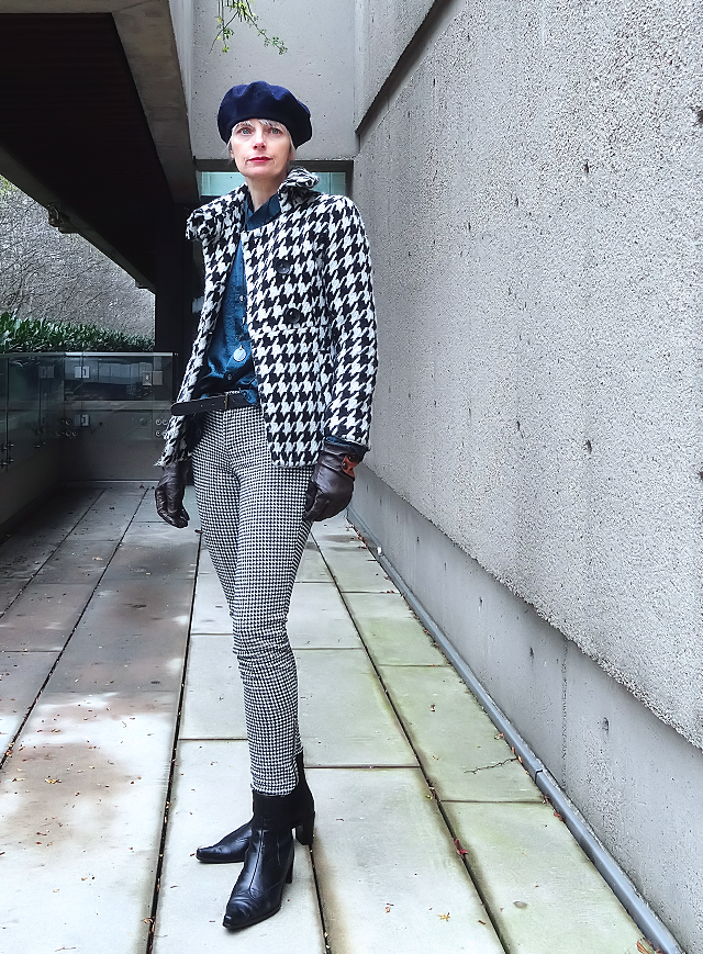 Mel Kobayashi, houndstooth jacket and pants, and a beret