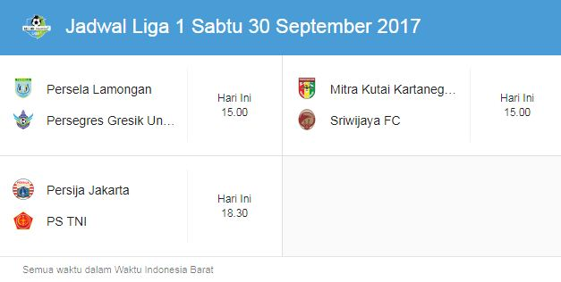 Jadwal Liga 1 Sabtu 30 September 2017