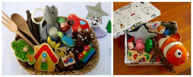 Actividad infantil creativa: Cesta, caja con objetos para inventar historias