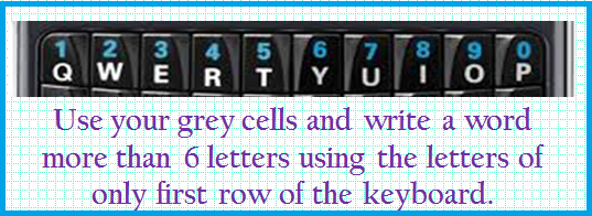 Words using first row letters of Keyboard