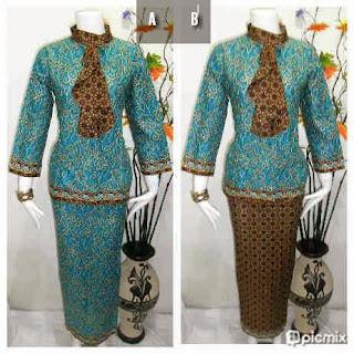 Baju Batik Setelan Rok Blus Warna Tosca