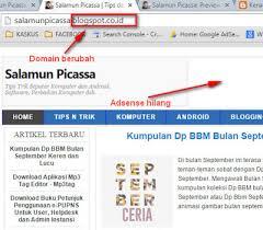 Adsense hilang akibat pengalihan domain