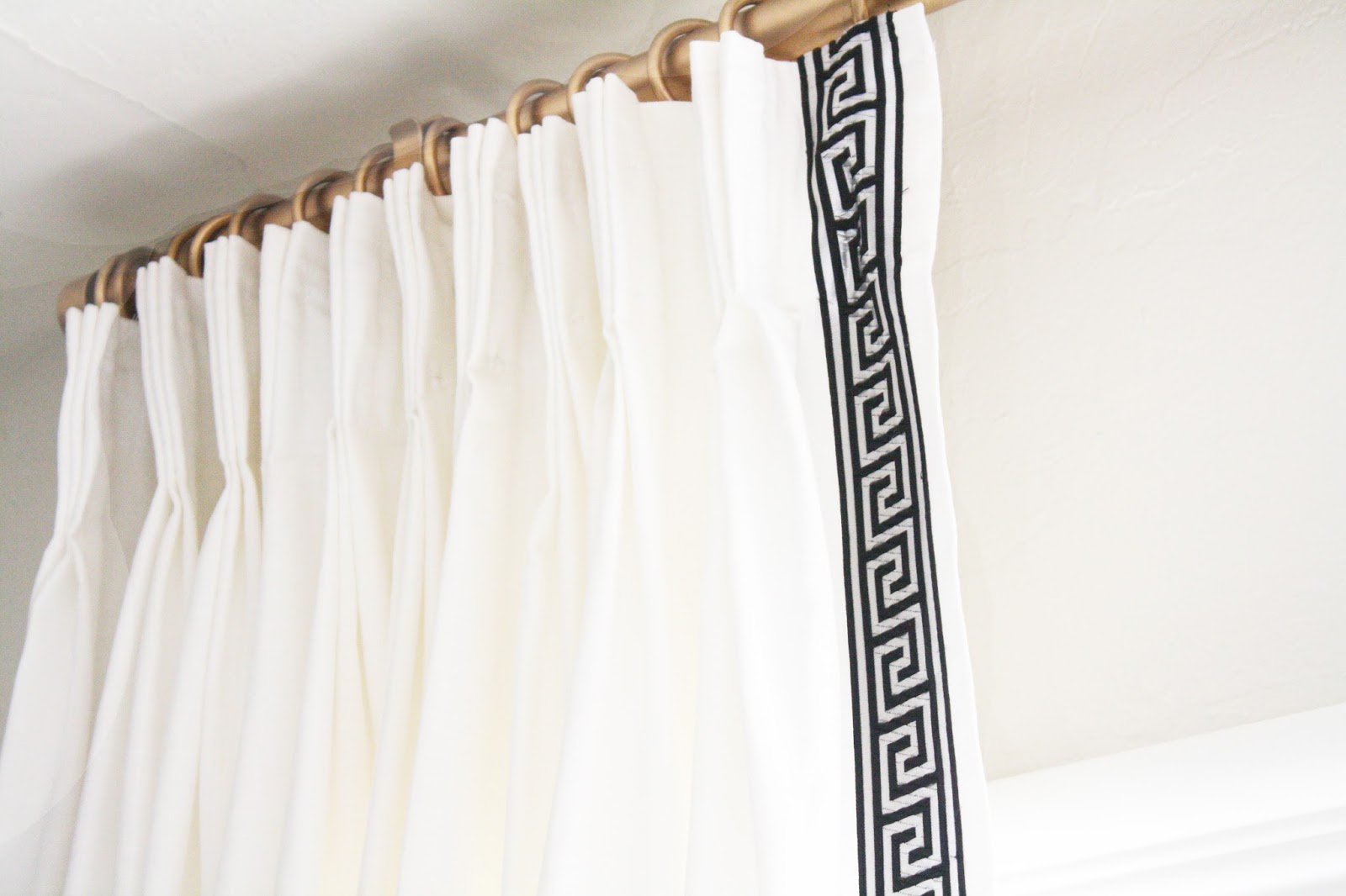 I Used Drapery Pins To Hang The Curtains One More Cheap Trick That Did Rings And Rod Were From Ikea Spray Painted Gold