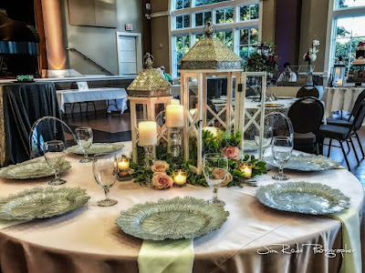 reception table lantern style candles at the Colleyville Center