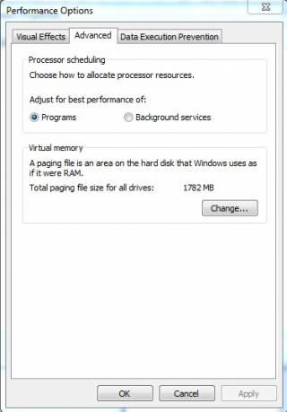 Performance Options windows