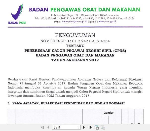 Penerimaan CPNS BPOM 2017.