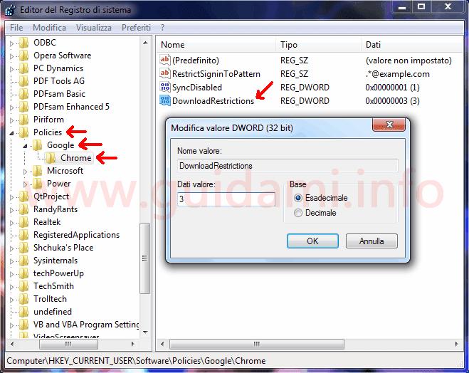 Editor del Registro di sistema di Windows creazione chiave per disattivare download in Google Chrome