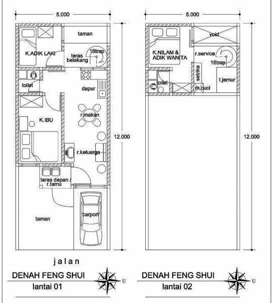 Denah Rumah Minimalis Fengshui