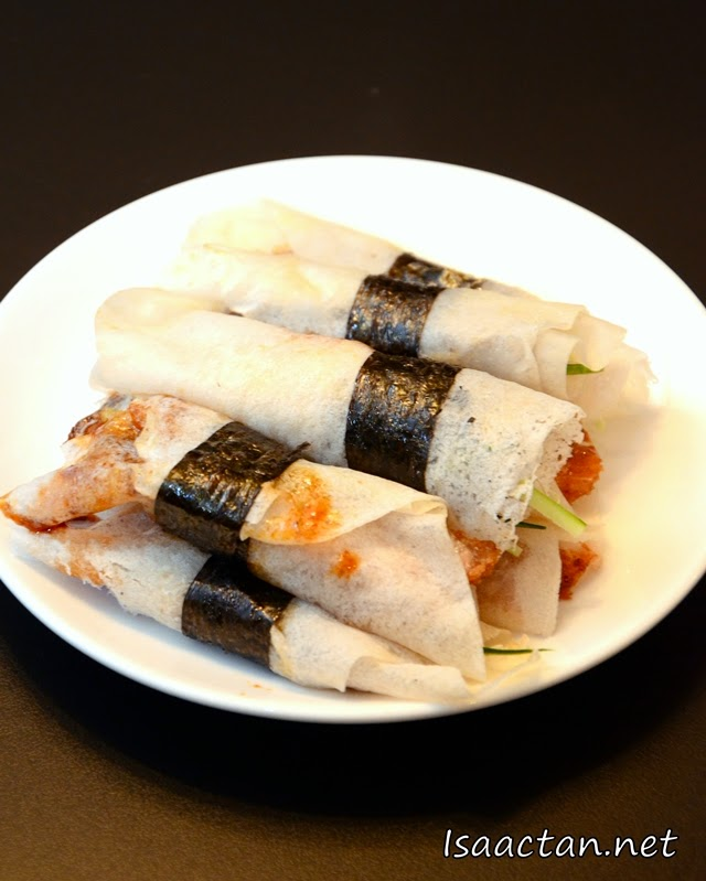 Duck Skin Wrapped with Seaweed and Julienne Legumes