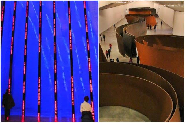 Instalacion para Bilbao de Jerry Holzer – La materia del tiempo de Richard Serra en el Museo Guggenheim Bilbao