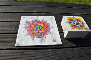 ręcznie malowane podkładki pod talerze mandala drewno