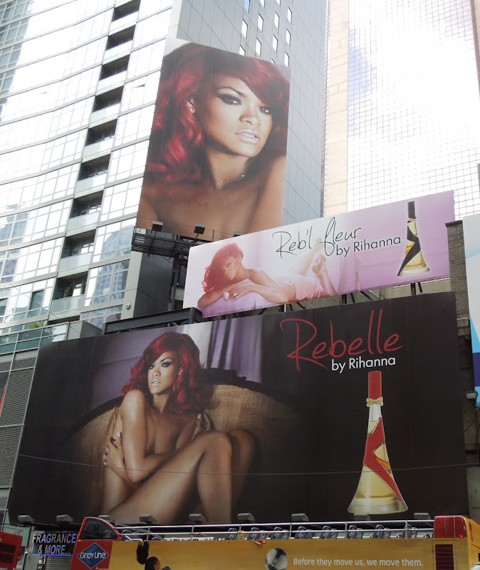 Rebelle Rihanna perfume billboards NYC