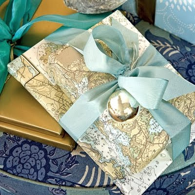 nautical chart gift wrapping paper