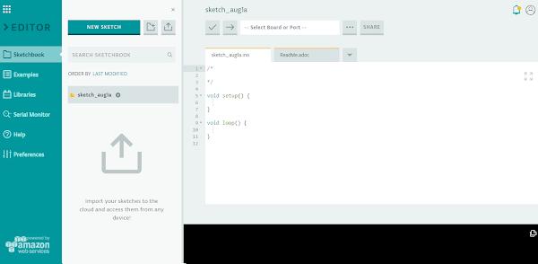 Tela inicial da IDE