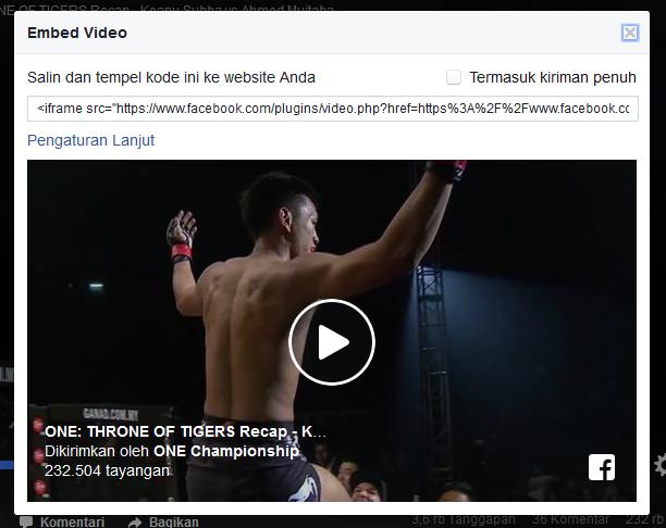 cara menyematkan video facebook ke blog