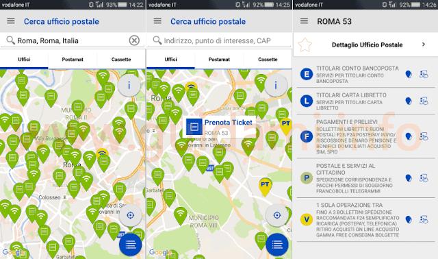 App Ufficio Postale seleziona ufficio Posta per fare ticket online