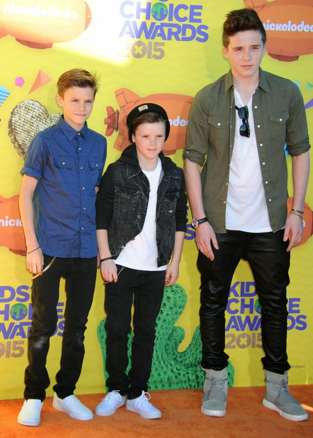 Brooklyn, Romeo and Cruz Beckham look handsome at the 2015 Nickelodeon Kids' Choice Awards