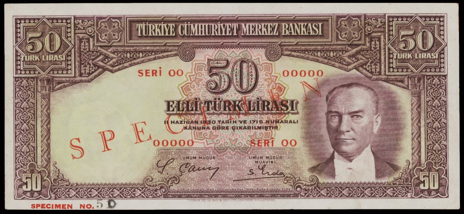 old Turkish banknotes 50 Lira note 1930 Atatürk