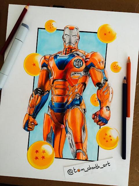 Mashup Ironman Homem de Ferro Goku Dragon Ball Paint