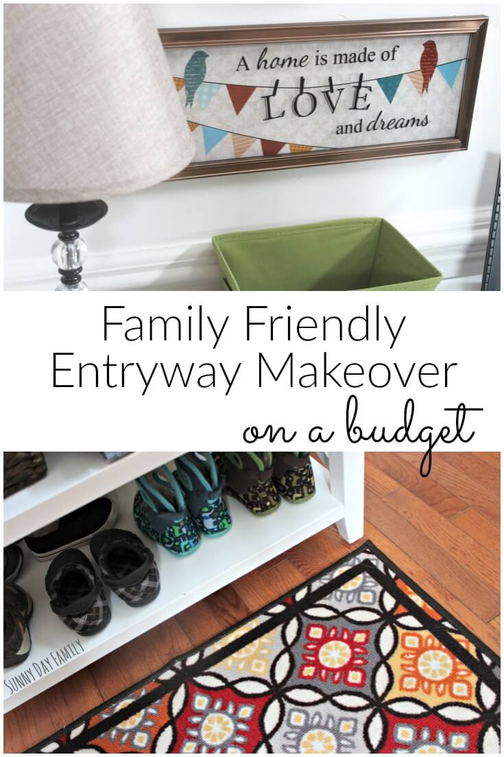 Give your foyer a makeover with this budget friendly project! Store kids shoes and winter gear with this colorful and cozy entryway idea.