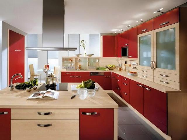 dinding dapur warna merah