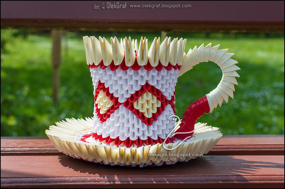 Origami 3d - mikaglo: 442. Filiżanka / 3d origami cup - photo#35