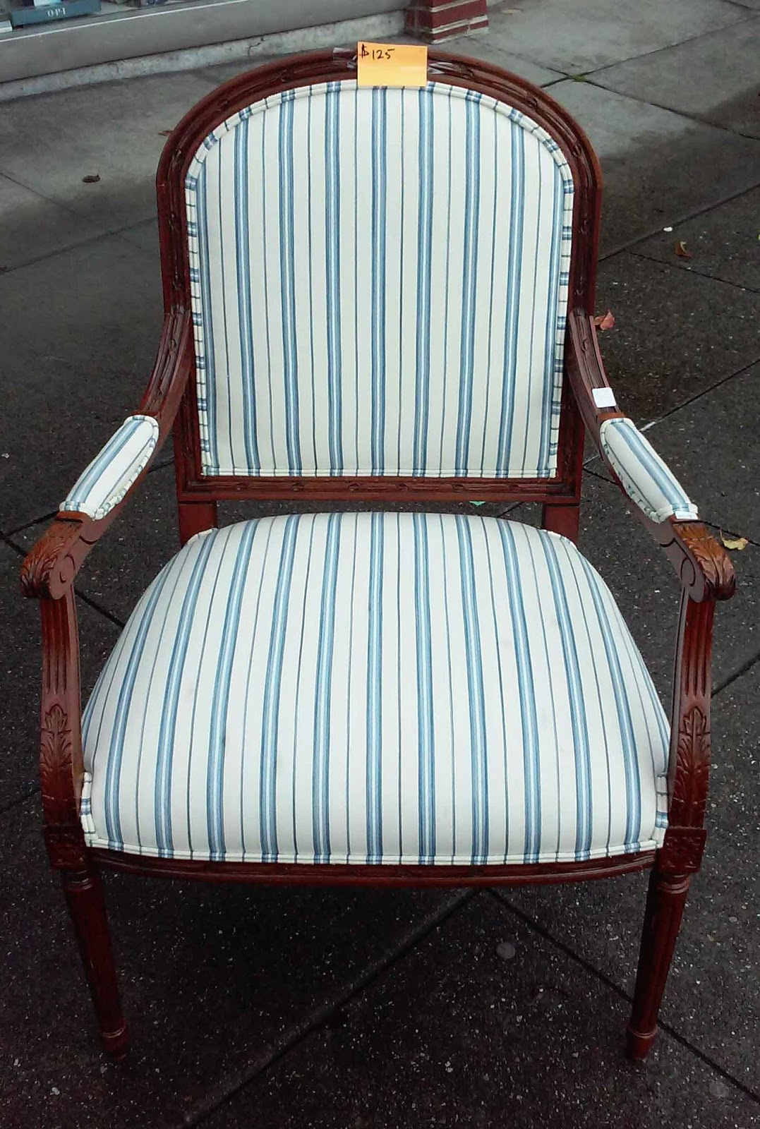 blue and white striped chair live electric execution uhuru furniture collectibles sold