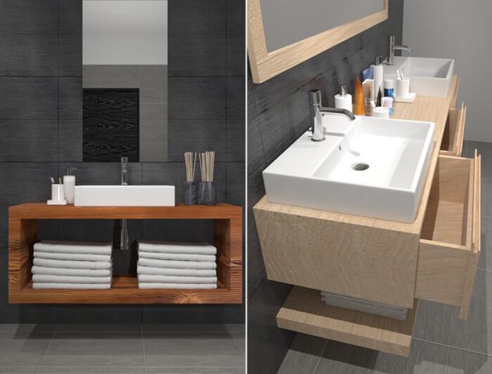 Mobili in legno massello per il bagno proposti da Xlab