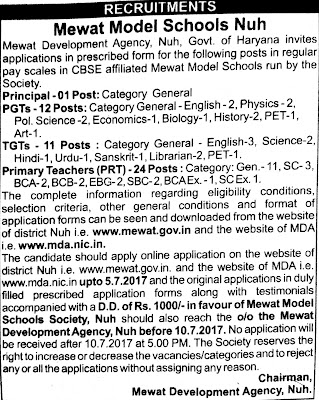 image : Mewat Model Schools, Nuh PRT, TGT, PGT, Principal Recruitment 2017 @ TeachMatters