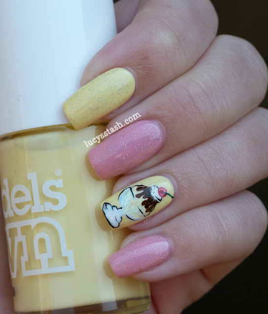 Ice Cream Sundae nail art manicure with tutorial