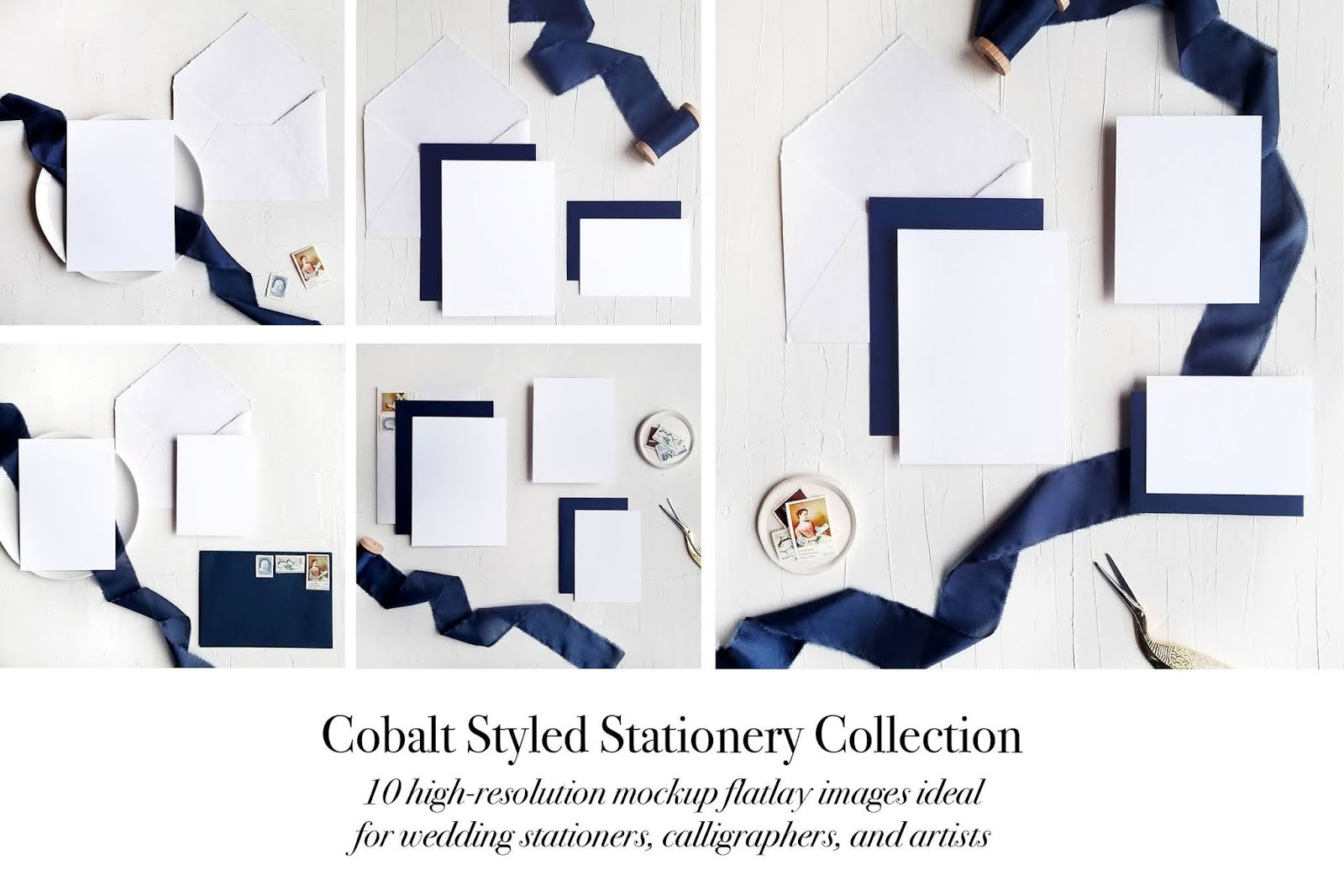 Cobalt Styled Stationery Flatlay