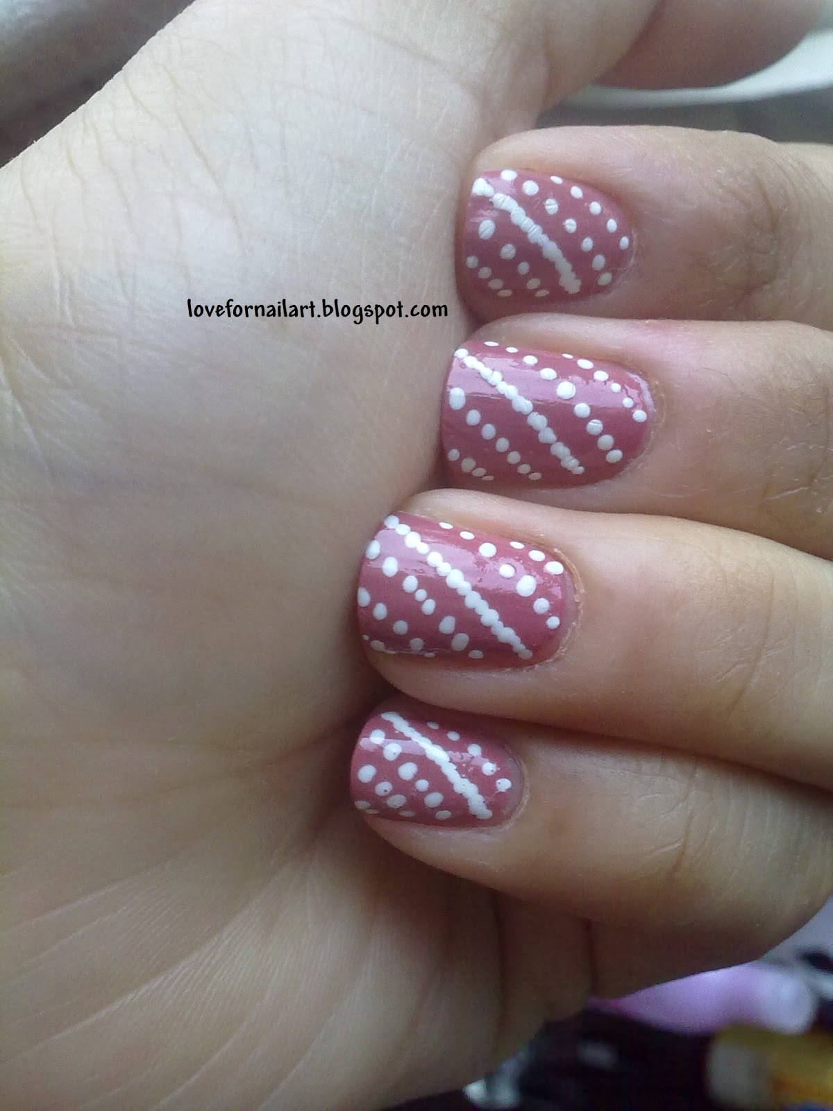 Love For Nail Art: Dotted Stripes Nail Design