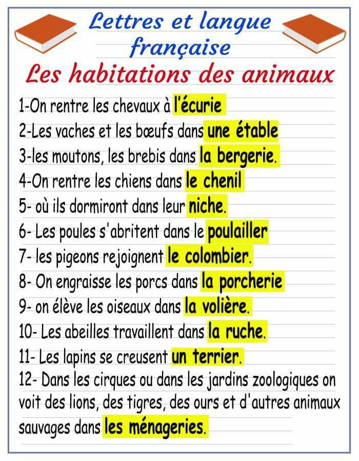 Les noms des habitations d'animaux en français